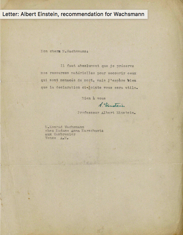 Letter of recommendation from Albert Einstein for Konrad Wachsmann, 2 October 1939