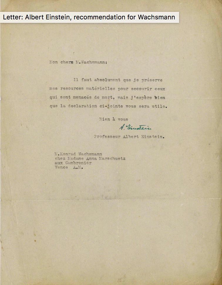 Letter of recommendation from Albert Einstein for Konrad Wachsmann, 2 October 1939